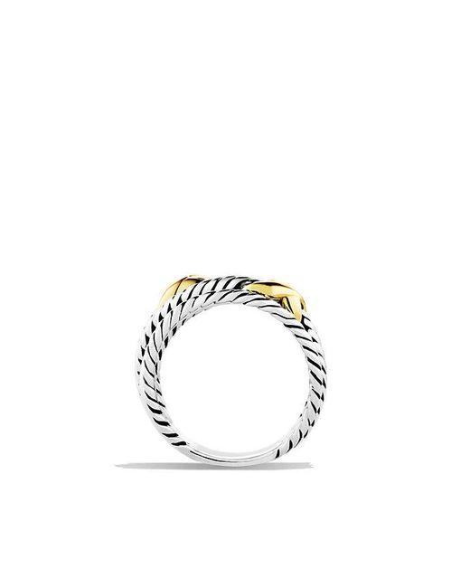 David Yurman - Metallic Double X Crossover Ring With 18k Gold - Lyst