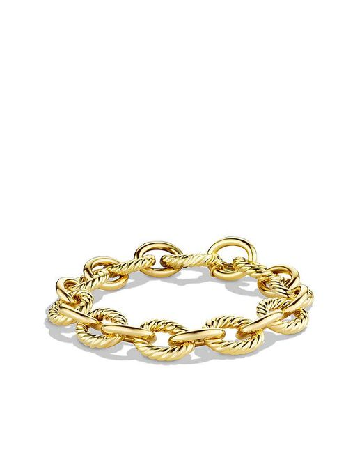 David Yurman | Metallic Large Oval Link Bracelet In 18k Gold | Lyst