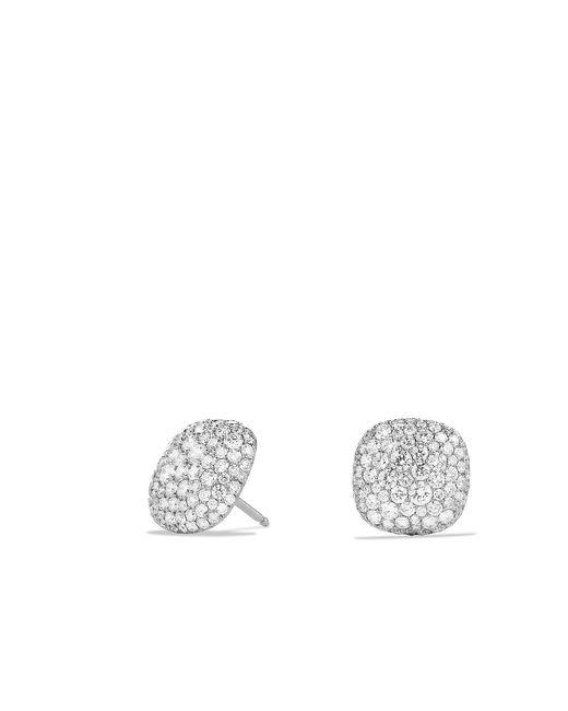 David Yurman - Metallic Pavé Earrings With Diamonds In 18k White Gold - Lyst