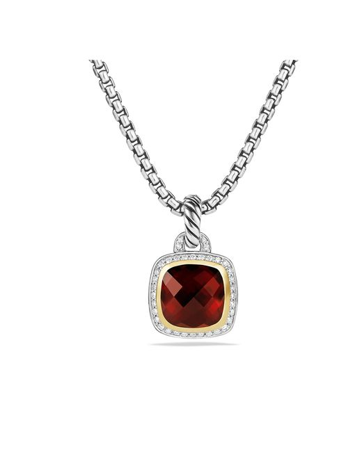 David Yurman - Metallic Albion® Pendant With Garnet, Diamonds And 18k Gold, 11mm - Lyst