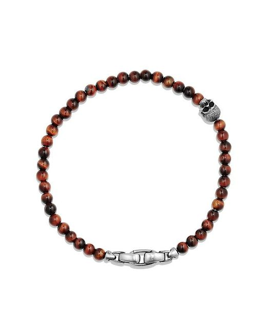 David Yurman | Multicolor Spiritual Beads Skull Bracelet With Red Tigers Eye | Lyst
