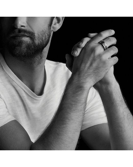 David Yurman   Armory Narrow Band Ring With Black Diamonds for Men   Lyst