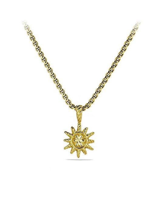 David Yurman | Metallic Starburst Mini Pendant Necklace With Diamonds In 18k Gold, 10mm | Lyst