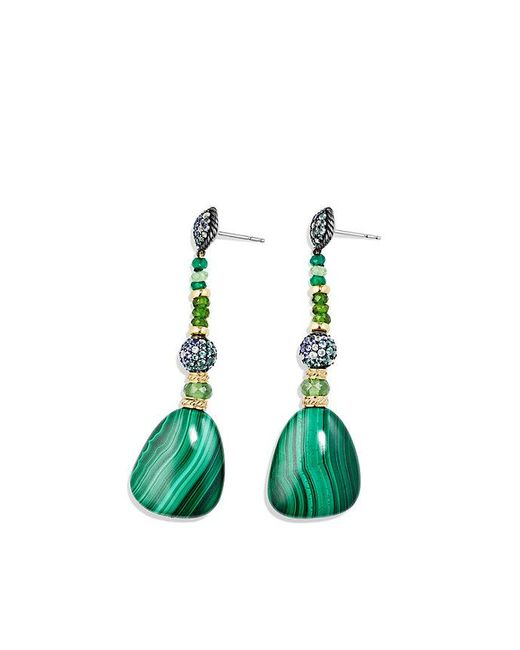 David Yurman | Delta Drop Earring With Malachite, Green/chrome Diopside, Color Change Garnet, Gray Sapphire And 18k Gold | Lyst