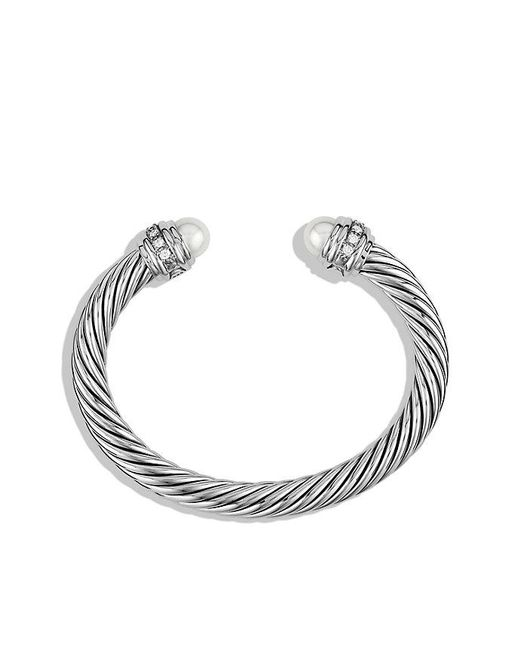 David Yurman | Multicolor Cable Classics Bracelet With Pearls And Diamonds, 7mm | Lyst
