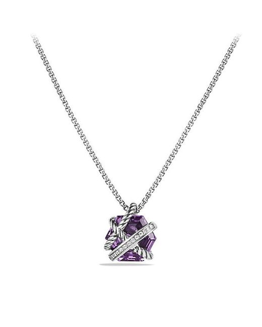 David Yurman - Purple Cable Wrap Necklace With Amethyst And Diamonds, 10mm - Lyst