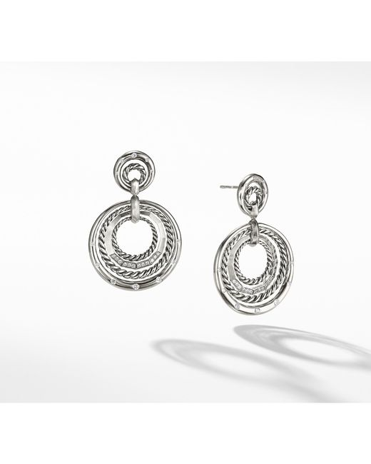 David Yurman - Metallic Stax Drop Earrings With Diamonds - Lyst