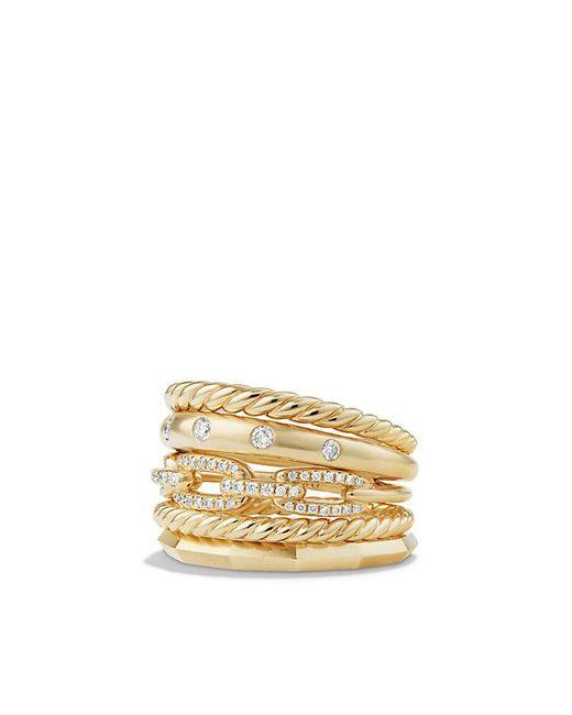 David Yurman - Metallic Stax Wide Ring With Diamonds In 18k Gold, 15mm - Lyst