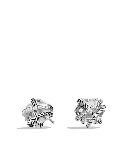 David Yurman Metallic Cable Wrap Earrings With Crystal And Diamonds