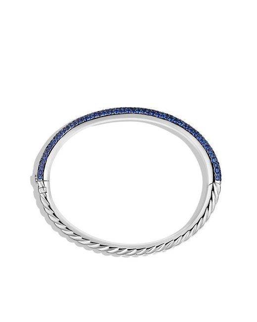 David Yurman | Blue Limited Edition Pavé Cable Bangle With Sapphires In White Gold | Lyst