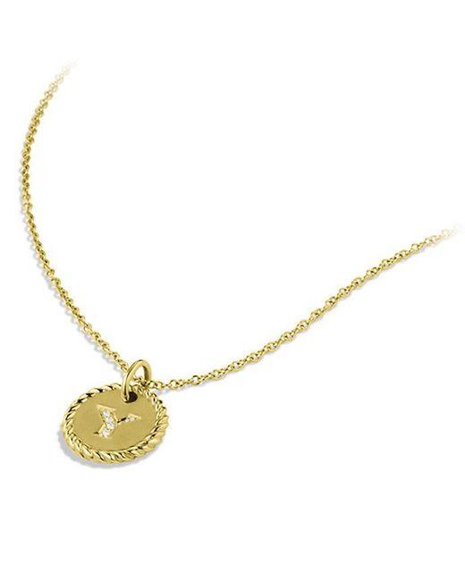 Lyst david yurman initial charm necklace with diamonds in 18k gold david yurman metallic initial charm necklace with diamonds in 18k gold lyst aloadofball Choice Image