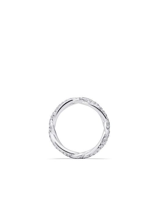 David Yurman - Metallic Dy Wisteria Wedding Band With Diamonds In Platinum, 3mm - Lyst