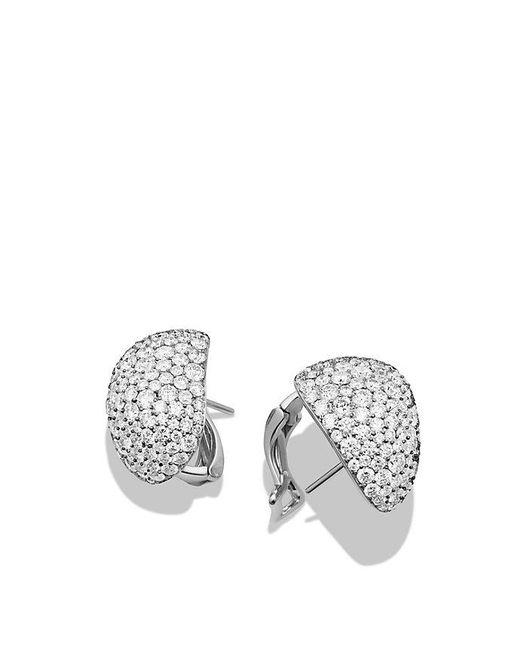 David Yurman   Pavé Earrings With Diamonds In 18k White Gold   Lyst