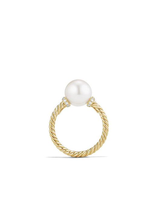 David Yurman | White Solari Station Ring With Pearls And Diamonds In 18k Gold | Lyst