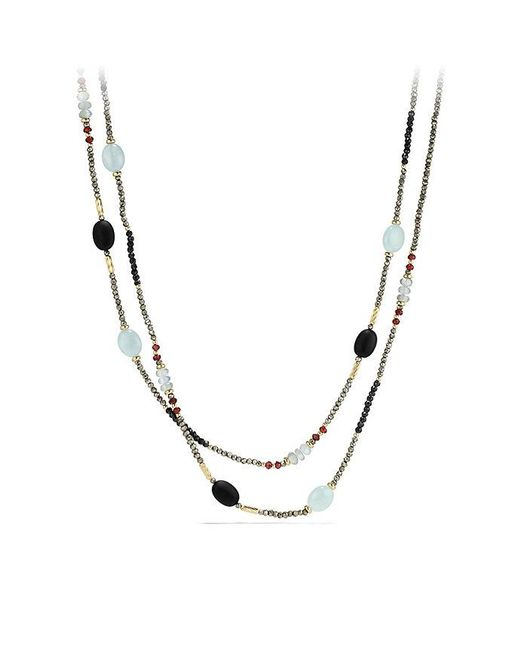 David Yurman | Metallic Dy Signature Bead Necklace With Pyrite, Aquamarine And Black Spinel In 18k Gold | Lyst