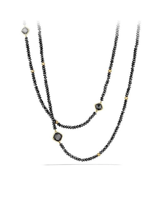 David Yurman | Metallic Dy Signature Bead Necklace With Hematine And Black Spinels In 18k Gold | Lyst