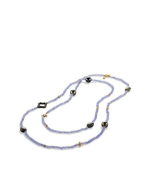 David Yurman | Metallic Dy Signature Bead Necklace With Tanzanite, Labradorite, Diamonds And 18k Gold | Lyst