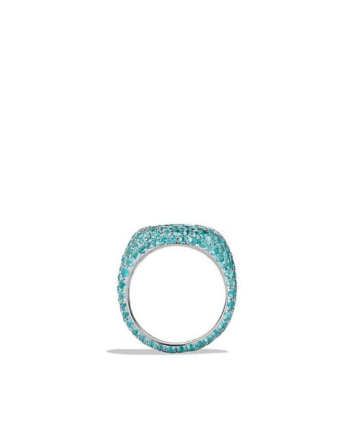 David Yurman | Green Pavé Pinky Ring With Paraiba Tourmaline In 18k White Gold | Lyst