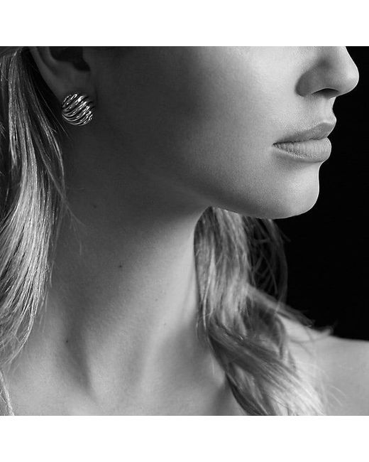 David Yurman   Metallic Sculpted Cable Earrings In 18k Gold   Lyst