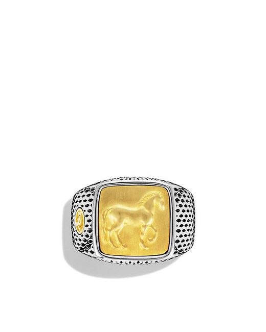 David Yurman - Metallic Petrvs Horse Signet Ring With 22k Gold - Lyst