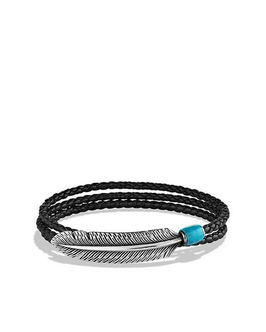David Yurman - Feather Triple-wrap Bracelet In Black Leather With Turquoise - Lyst