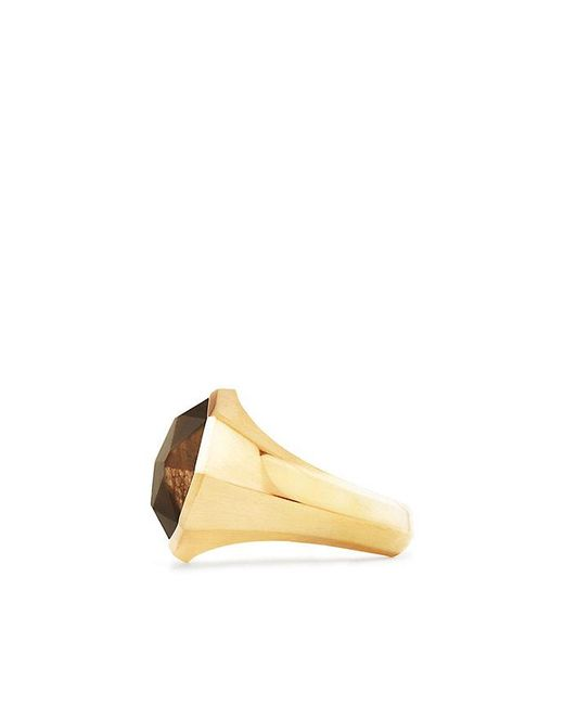 David Yurman | Metallic Dy Fortune Faceted Signet Ring With Golden Sheen Sapphire In 18k Gold | Lyst