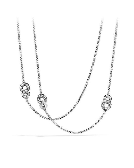 David Yurman | Metallic Belmont Curb Link Four Station Chain Necklace With Diamonds | Lyst