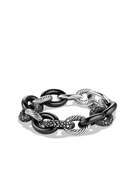 David Yurman   Blue Midnight Mélange Oval Large Link Bracelet With Diamonds, 20mm   Lyst