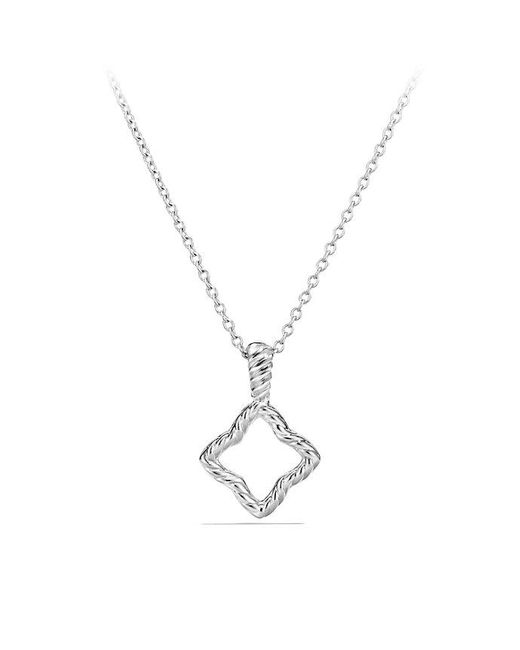 David Yurman   Cable Collectibles Quatrefoil Pendant Necklace With Diamonds In 18k White Gold   Lyst