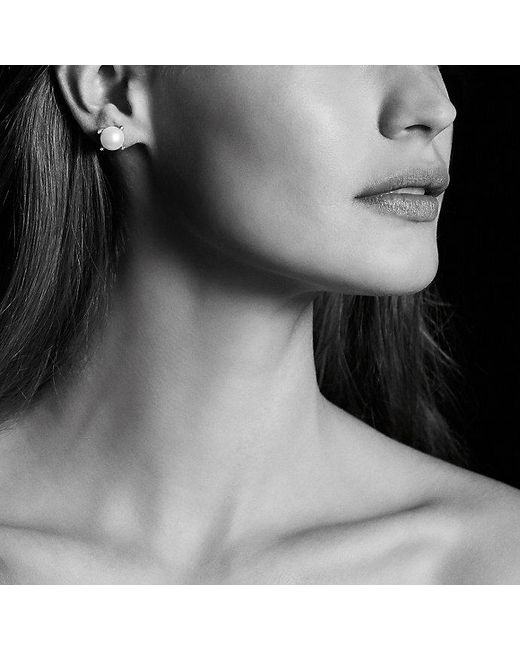 David Yurman | White Pearl Earrings With Diamonds In 18k Gold | Lyst