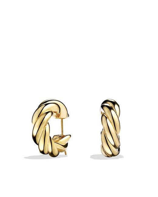 David Yurman | Metallic Sculpted Cable Large Earrings In 18k Gold | Lyst