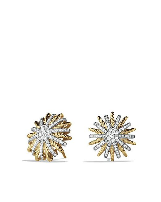 David Yurman | Metallic Starburst Earrings With Diamonds In 18k Gold, 18mm | Lyst