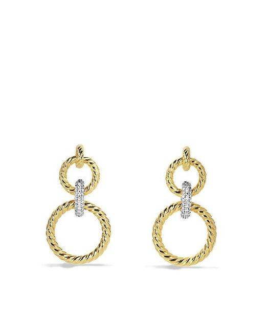 David Yurman | Metallic Mobile Cable Doorknocker Earrings With Diamonds In 18k Gold | Lyst