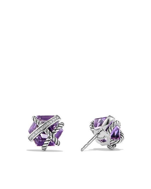 David Yurman | Purple Cable Wrap Earrings With Amethyst And Diamonds, 10mm | Lyst