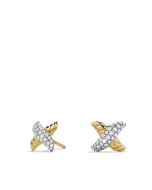 David Yurman | Metallic X Earrings With Diamonds In 18k Gold | Lyst