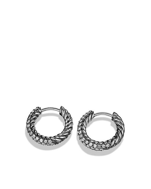 David Yurman | Metallic Petite Pavé Huggie Hoop Earrings With Gray Diamonds | Lyst
