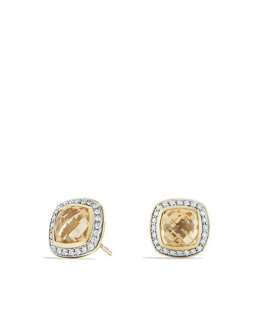 David Yurman | Metallic Albion® Earrings With Champagne Citrine And Diamonds In 18k Gold, 7mm | Lyst