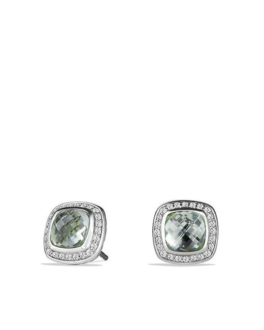 David Yurman | Metallic Albion® Earrings With Prasiolite And Diamonds, 7mm | Lyst