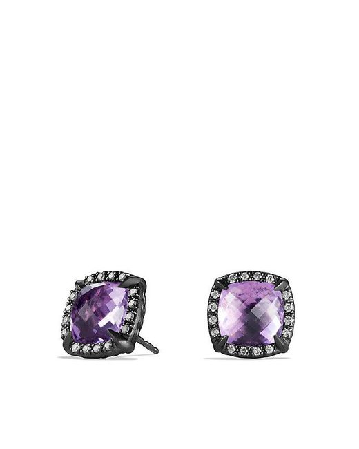 David Yurman | Blue Châtelaine Stud Earrings With Amethyst And Gray Diamonds | Lyst