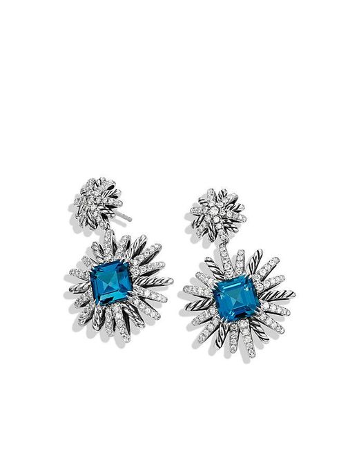 David Yurman | Starburst Drop Earrings With Hampton Blue Topaz And Diamonds | Lyst