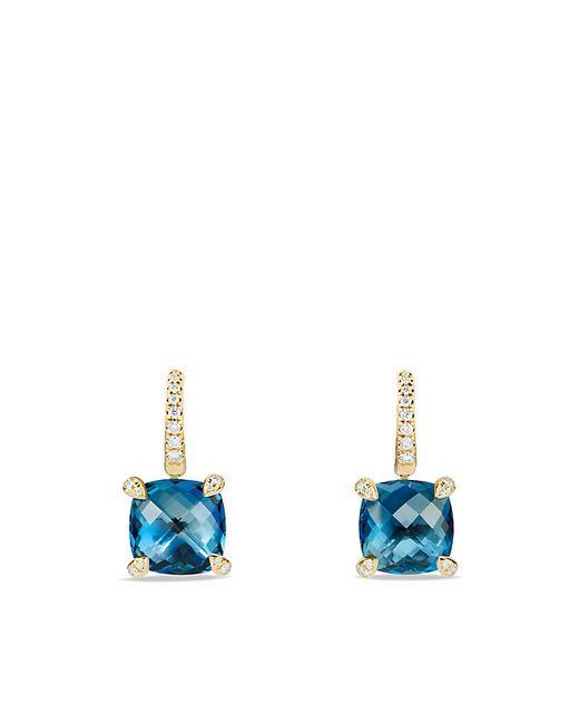 David Yurman   Châtelaine Drop Earrings With Hampton Blue Topaz And Diamonds In 18k Gold   Lyst