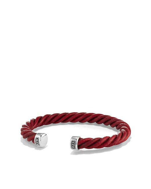 David Yurman | Cable Cuff Leather Bracelet In Red, 6mm | Lyst