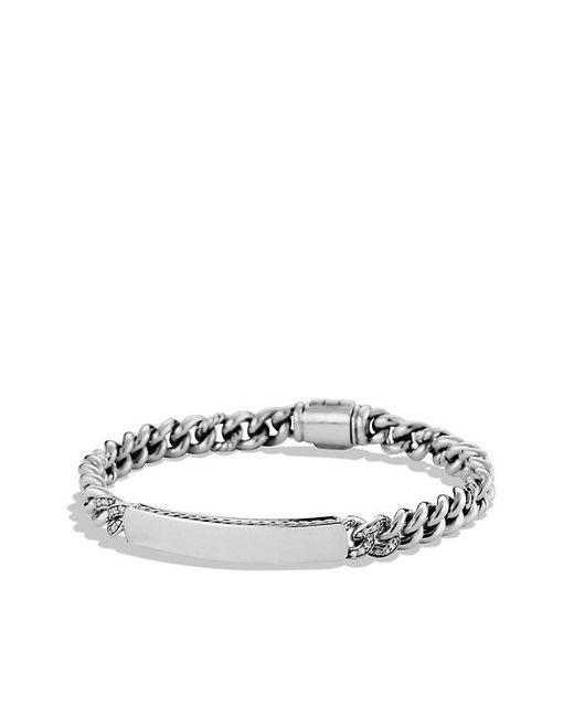 David Yurman   Metallic Petite Pavé Curb Link Id Bracelet With Diamonds   Lyst