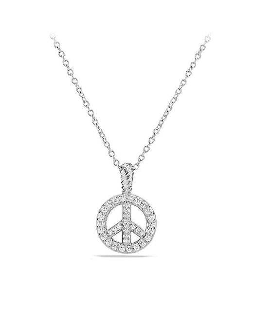 David Yurman - Metallic Cable Collectibles Peace Sign Pendant Necklace With Diamonds In 18k White Gold - Lyst