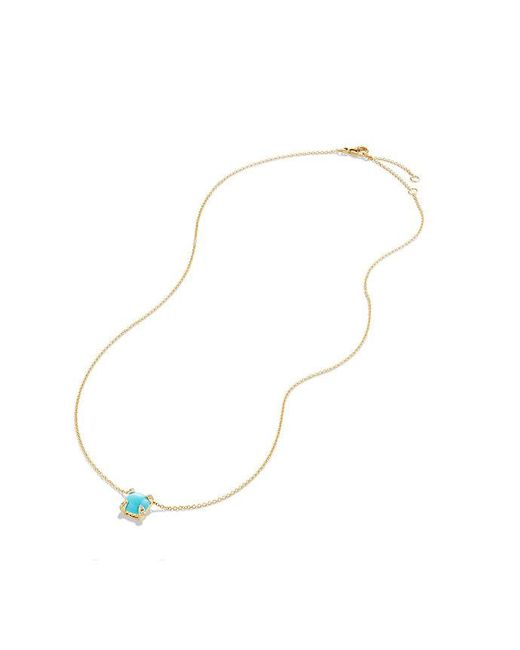 David Yurman | Blue Châtelaine Pendant Necklace With Turquoise And Diamonds In 18k Gold, 7mm | Lyst
