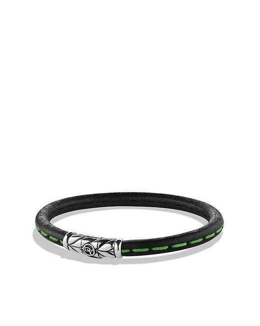 David Yurman | Black Chevron Leather Bracelet In Green for Men | Lyst