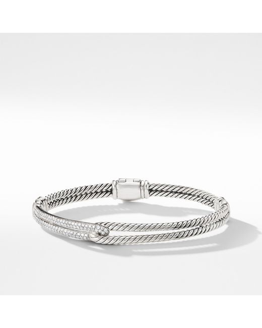 David Yurman - Metallic Petite Pavé Labyrinth Single-loop Bracelet With Diamonds - Lyst