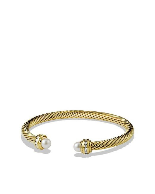 David Yurman | White Cable Classic Bracelet With Pearl And Diamonds In 18k Gold, 5mm | Lyst