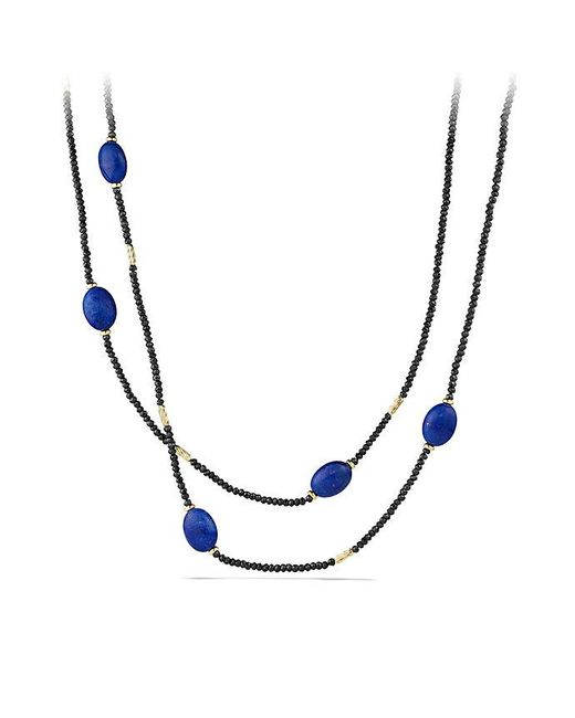 David Yurman | Dy Signature Bead Necklace With Black Spinel And Lapis Lazuli In 18k Gold | Lyst
