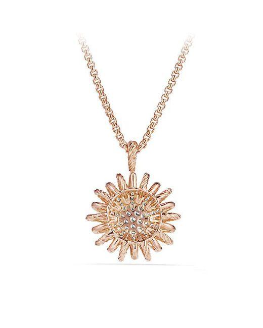 David Yurman | Pink Starburst Pendant With Diamonds In 18k Rose Gold, 22mm | Lyst